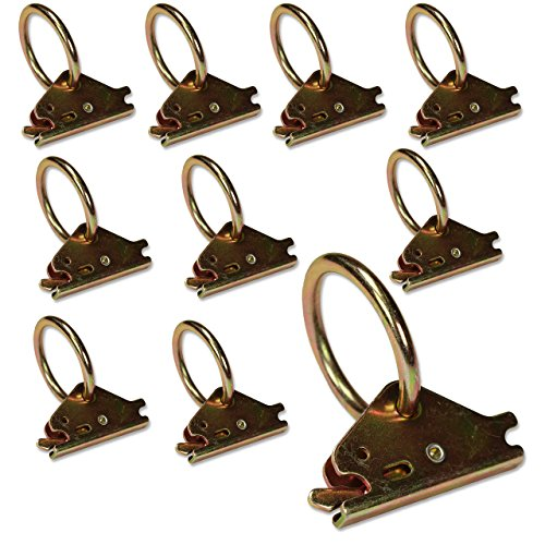 Ten Steel E-Track O Ring Tie-Down Anchors for E-Track TieDown System, Secure Cargo in Enclosed/Flatbed Trailers, Trucks