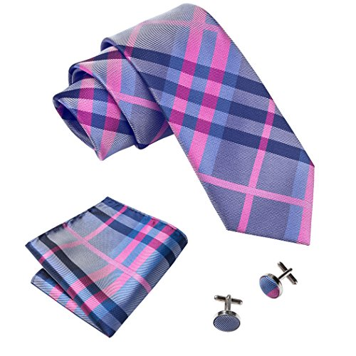 Barry.Wang Plaid Ties Business Tie Hanky Cufflinks Rose Red