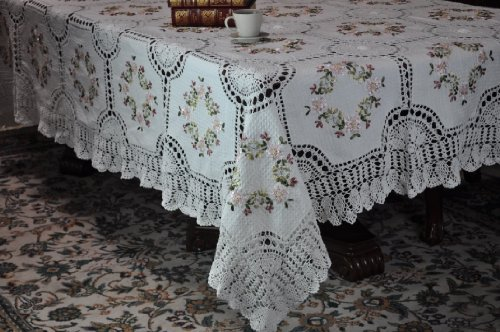 Tasleffa Hand-made Crochet Lace with Ribbon Tablecloths .(White, 68x104oblong)