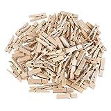BleuMoo 100Pcs Mini 30mm Natural Wooden Clothes Photo Paper Peg Clothespin Craft Clips
