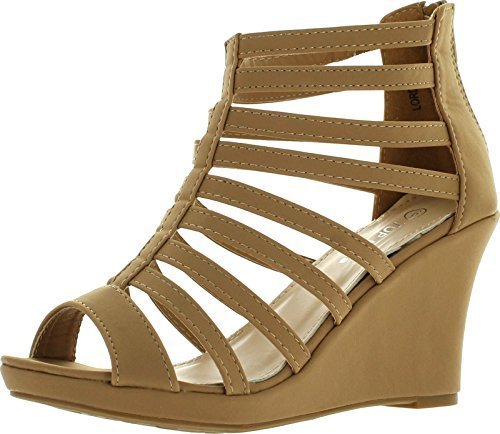 Top Moda Womens Gladiator Inspired Bird Cage Strappy Wedge Sandals Tan 7 ()