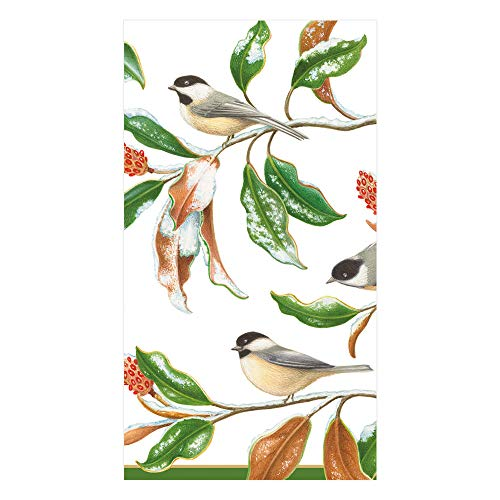 Caspari Chickadee and Magnolia Paper Guest Towel Napkins in Ivory, 15 Per Package ()