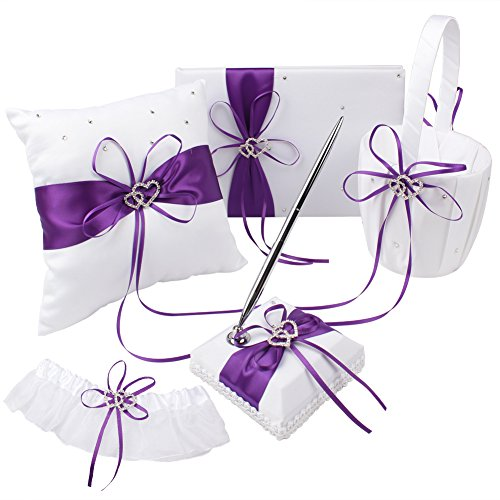 OurWarm 5pcs Wedding Guest Book Set Double Heart Rhinestone Bowknot Ribbon for Rustic Wedding Decorations, Guest Book + Pen set + Flower Basket + Ring Bearer Pillow + Garter White Cover