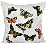 E by design O5PAN492WH1IV2-18 18 x 18'' Antique Butterflies and Flowers Animal White Outdoor Pillow