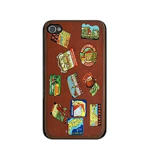 Travel Stickers Suitcase iPhone 4 Black Case