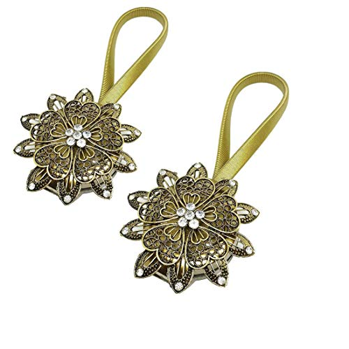 HBEDU Curtain Tiebacks Bronze Magnetic Holders European Metal Holdbacks with Crystal Flower Home Office Vintage Decoration Pack of 2