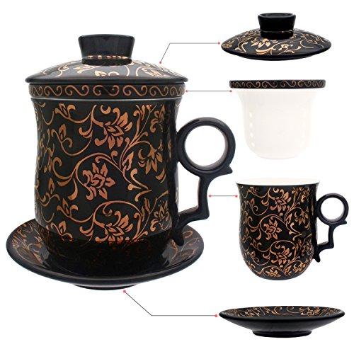 HOLLIHI - Taza de te de porcelana con tapa e infusor de platillo – Ceramica china Jingdezhen, taza de cafe, taza de te, sistema de preparacion de te para el hogar y la oficina