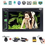 """Wireless Camera as gift 6.2"""" Touchscreen In Dash Double DIN Car Stereo GPS Nav Support BT MP3 Audio Video DVD CD Player FM AM RDS Radio/TF /USB/AUX-in/Subwoofer /Steering Wheel Contrl"""