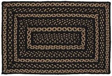 Classic Country Primitive Flooring – Farmhouse Jute Black Rug, 2 3 x 4