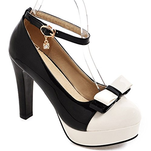 YE Damen Süß Ankle Strap High Heels Lack Plateau Pums mit Blockabsatz und Schleife Schuhe Schwarz