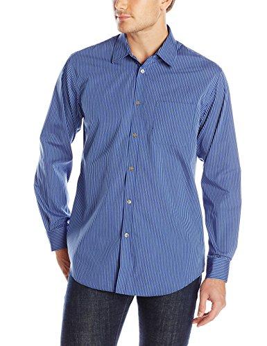 Van Heusen Men's Long Sleeve Ultimate Grid Traveler Button Up Shirt, Blue Depths, (Ultimate Traveler)