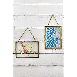 2 Hanging Double Glass Picture Frame 5x7in