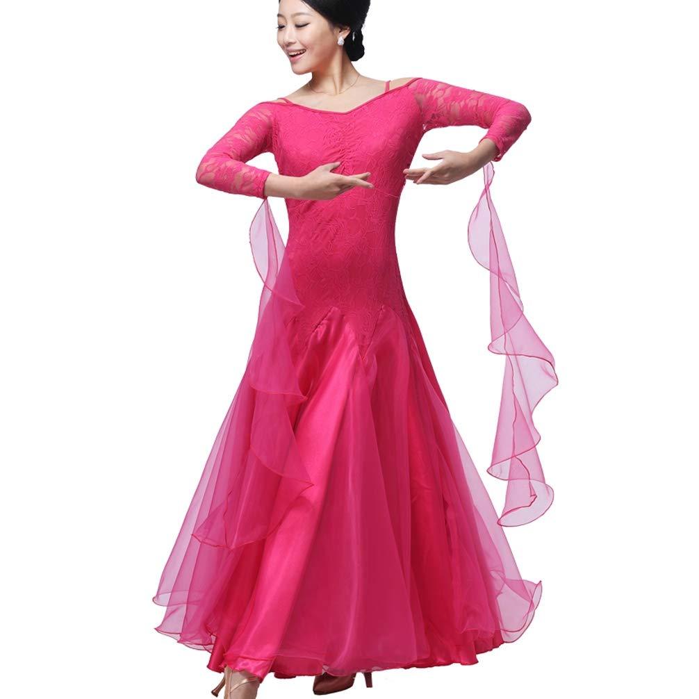 ROSE XL Dentelle Robe de Bal pour Les Femmes Jupe Perforhommece Valse Robes de Danse Sociales Modernes VêteHommests de Pratique de la Danse FlaHommesco Tango
