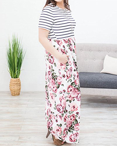 8c2f8bbb827 Rotita Women Striped Floral Plus Size Maxi Dress Empire Waist Short Sleeve  Long Dresses with Pocket