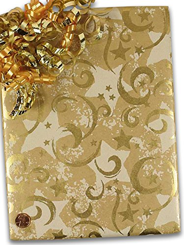 Gold Stars & Swirls Gift Wrapping Paper 24'' X 100' Christmas by Paper Mart