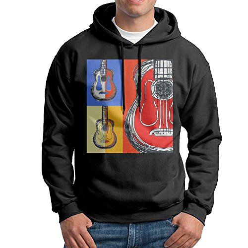 Ibanez Acoustic Blocks - Obachi Color Block Guitars Men's Long Sleeve Pullover Hooded Sweatshirt Black Size XL