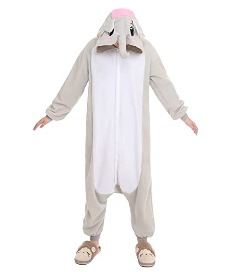 "NEWCOSPLAY Halloween Elephant Pajamas Homewear OnePiece Cosplay Costume Lounge Wear (S-for Height 59""-63"", Grey Elephant)"