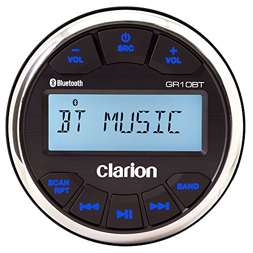 (Clarion GR10BT Marine USB/MP3/WMA Gauge-Hole Digital Receiver with Built-In Bluetooth)