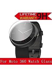 Moto 360 Watch Glass Screen Protector, AnoKe [Lifetime Warranty](0.3mm 9H 2.5D) Best Tempered Glass Screen Protector Film Shield Guard For Motorola Moto 360 Watch Glass