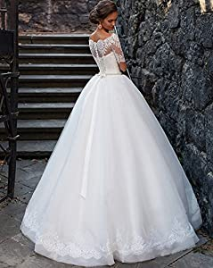 Yilian Boat Neck Lace Ball Gown Wedding Dresses for Brides 2016 Half Sleeve