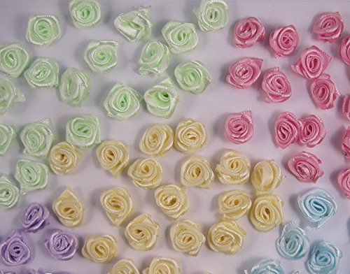 Satin Flower Embellishments (100pcs Mixed Colors Mini Satin Flower Head Rosette Girls Boutique Hair Bow Headwear DIY Garment Craft Decor)