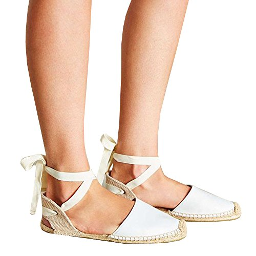 4747bc9648e3 Pxmoda Women s Lace Up Espadrille Sandals Bandage Ankle Buckle Flats Flip  Flops