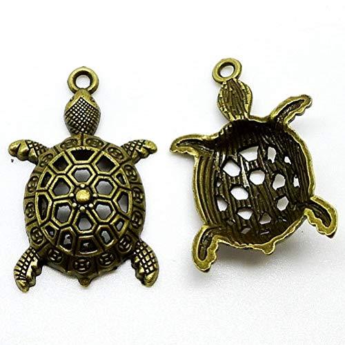 7 pcs Tortoise Antique Brass Charms 25x39mm Turtle Bronze Pendant (CB225)