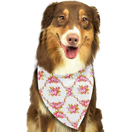 Dog Bandana Curvy Borders Rose Blooms Retro Flora Waves Garland Pet Scarf Pet Dog Bandanas Washable Triangle Dog Scarf,Pet Accessories