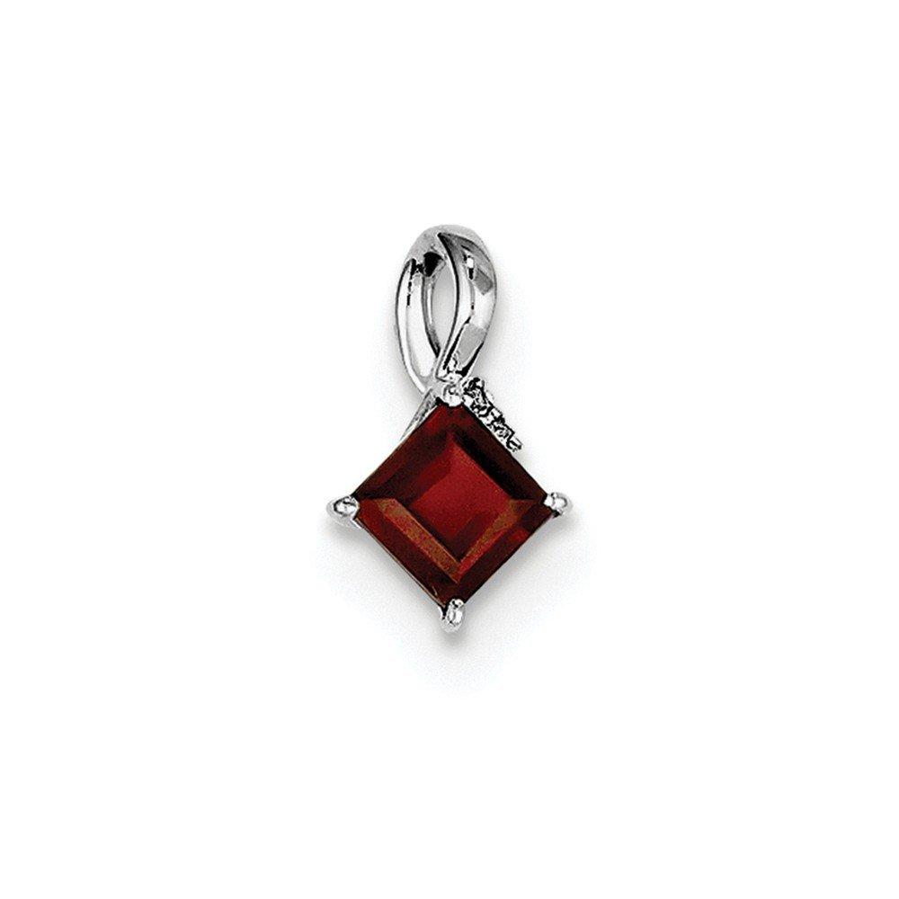 Sterling Silver Rhodium Plated Diamond /& Garnet Square Pendant