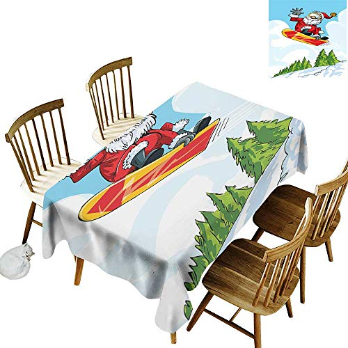 - Santa Elastic edges fit the rectangular tablecloth Suitable for most home decor Cartoon Style Santa Doing a Jump on Snowboard Snow Covered Mountains and Pine Trees W60 x L102 Inch Multicolor