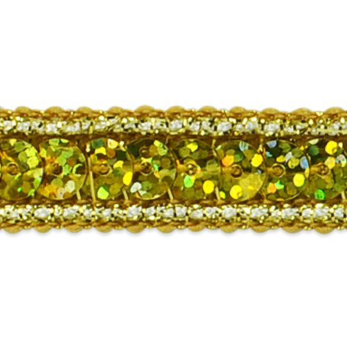 Expo International Single Row Starlight Hologram Sequin with Sparkle Edge Trim, 20-Yard, Gold ()