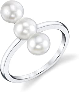 THE PEARL SOURCE 5-6mm Genuine White Freshwater Cultured Pearl Shani Ring for Women