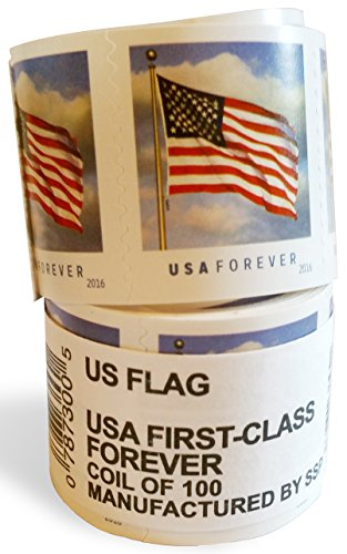 USPS Forever Stamps, Coil of 100 US Flag Postage Stamps (Stamp Design May Vary)