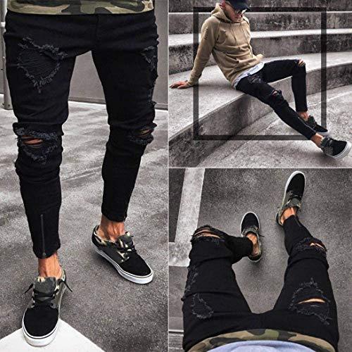 Zipper Neri Distressed Biker Frayed Uomo Especial E Holes Moda Rip Nero Skinny Denim Estilo Jeans Cher Pantaloni Pants Slim x6qzTBzw