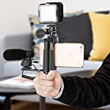 Neewer Smartphone Rig Filmmaker Grip with Cold Shoe Mount, Cold Shoe Extension Plate and Width Adjustable Phone Clip Holder 2-3.6 inches for iPhone X 8 7 Samsung Galaxy S7 for Photography (Black)