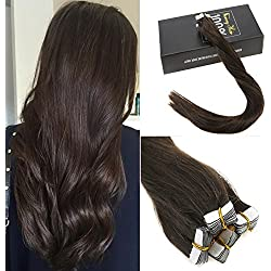 Sunny 22inch Darkest Brown #2 Heart Tape in Hair Extensions Premium Quality Silky Straight Remy Human Hair Tape Hair Extensions 1.25g/pc 20pc/Pack