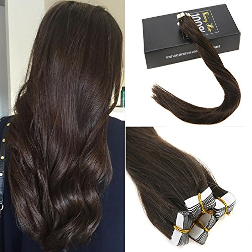 Sunny 14inch Tape in Hair Extensions Dark Brown #2 Heart Premium Quality Silky Straight Remy Human Hair Tape Hair Extensions Human Hair 1.25g/pc -