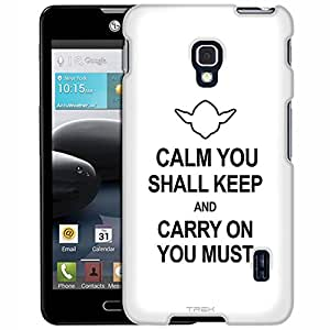 LG Optimus F6 Case, Slim Fit Snap On Cover by Trek CALM you Shall KEEP on White Case