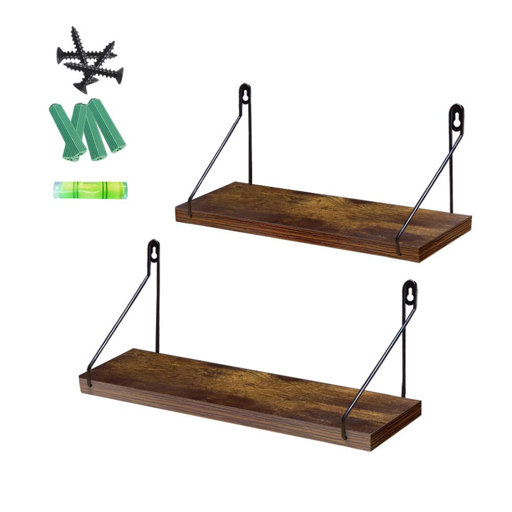 Giftgarden 2 Pack Floating Shelves Rustic Wall Mounted Storage Shelf for Kitchen, Living Room, Bedroom, Office Room