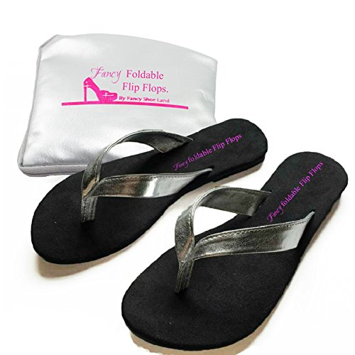 Flip Flops Sandals Foldable shoes EXPANDABLE TOTE BAG Silver Bride Shoes folding PORTABLE fold up sandal (Medium = 7 )
