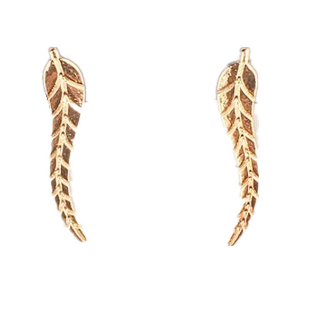 Minshao 1Pair Women Fashion Metal Leaf Ear Clip Earrings