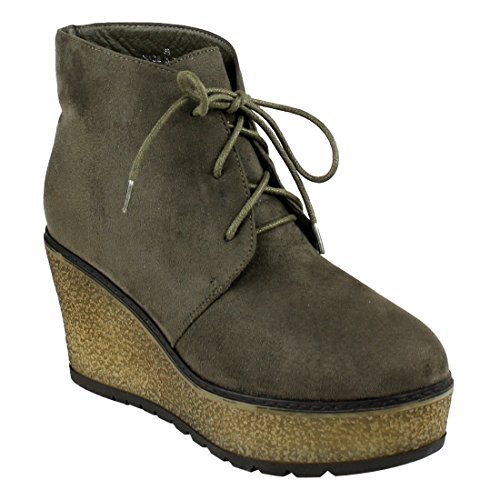 35ad765536180 Women s Olive Faux Suede Platform Wedge Chukka Booties by Beston