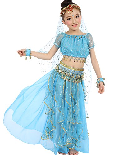 [Astage Big Girls` Belly Dance Carnival Dancing Dress Sky Blue S-M] (Pocahontas Costumes For Kids)