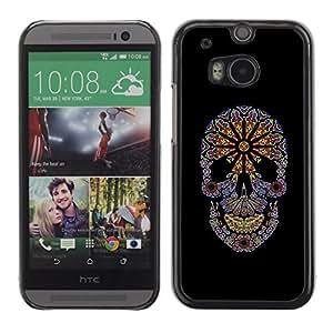 Be Good Phone Accessory // Dura Cáscara cubierta Protectora Caso Carcasa Funda de Protección para HTC One M8 // Floral Black Flowers Spring Skull Purple