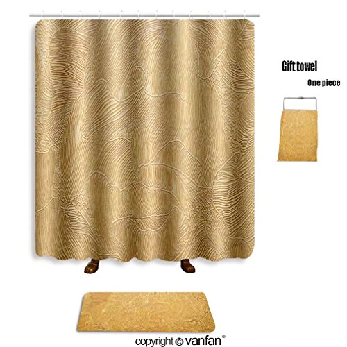 vanfan bath sets with Polyester rugs and shower curtain gold background texture wallpaper on the wall shower curtains sets bathroom 54 x 78 inches&23.6 x 15.7 inches(Free 1 towel and 12 hooks)