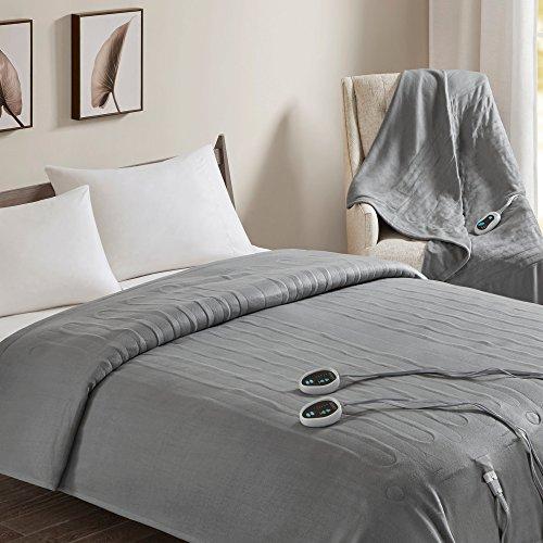 Beautyrest - Heated Fleece Blanket and Throw Combo Set - Grey - Queen Size Blanket 84' x 90' + Throw 50' x 60' - with 3 Heat-Regulating Controllers