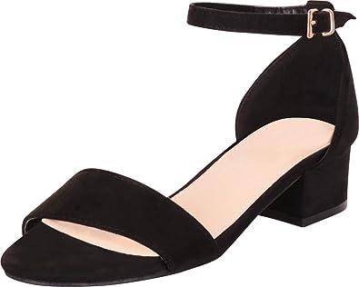 a811c8e172f Cambridge Select Women s Classic Single Band Ankle Strap Chunky Block Low  Heel Sandal