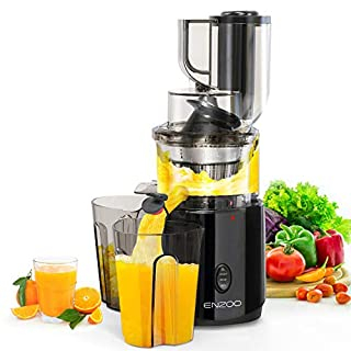 Juicer Machines, ENZOO Slow Masticating Juicer, Slow Cold Press Juicer Extractor, Slow Juicer Easy to Clean, Reverse Button, High Nutrition Reserve & Juice Yield Juice Machine with Juice Recipes&Brush
