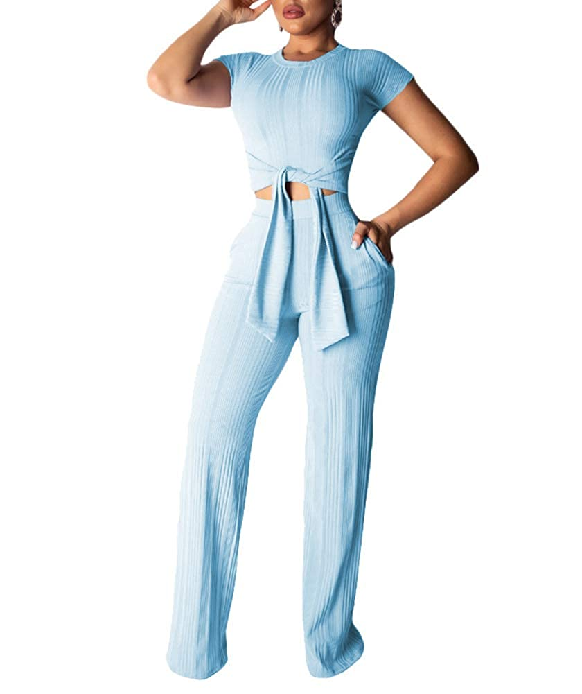 bluee Remelon Womens Short Sleeve Ribbed Tie Up Crop Top Pockets Loose Long Pants Set 2 Piece Outfits Jumpsuits