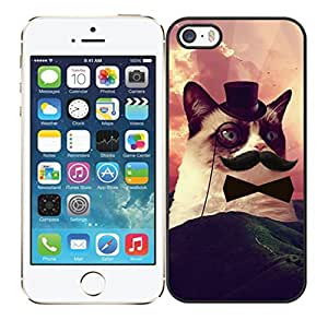 iPhone 5 5S Case,Hipster Grumpy Cat With Mustache Bow Tie High Definition Personalized Design Cover With Hign Quality Hard Plastic Protection Case